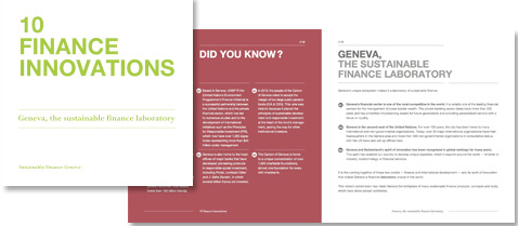10 finance innovations - Geneva, the sustainable finance laboratory